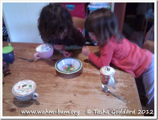 Hot chocolate, squirty cream and smarties (www.wahm-bam.org © Tasha Goddard 2012)