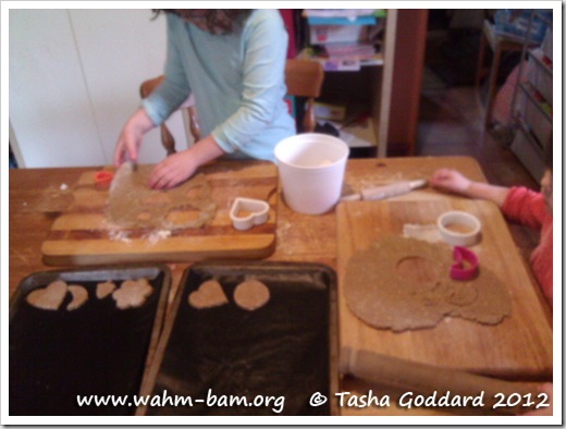 Baking biscuits: Cutting out biscuit dough (www.wahm-bam.org © Tasha Goddard 2012)