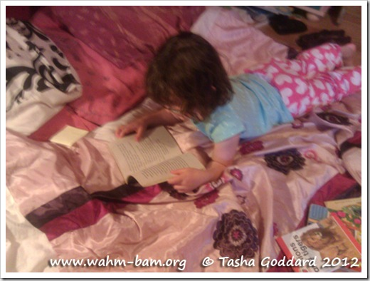 Reading a book (www.wahm-bam.org © Tasha Goddard 2012)