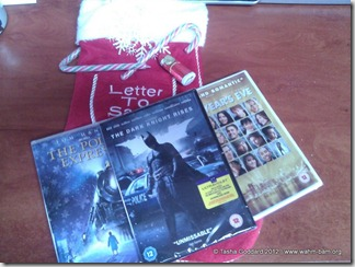 Christmas Package from Warner Bros. - The Polar Express, The Dark Knight Rises and New Year's Eve   © Tasha Goddard   www.wahm-bam.org