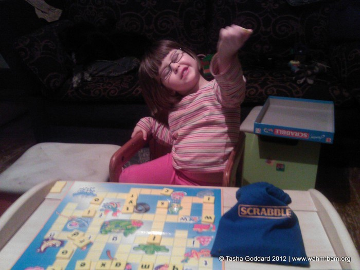 Playing Junior Scrabble (Mattel Games)
