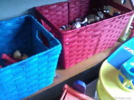 Organised toy storage helps children tidy up
